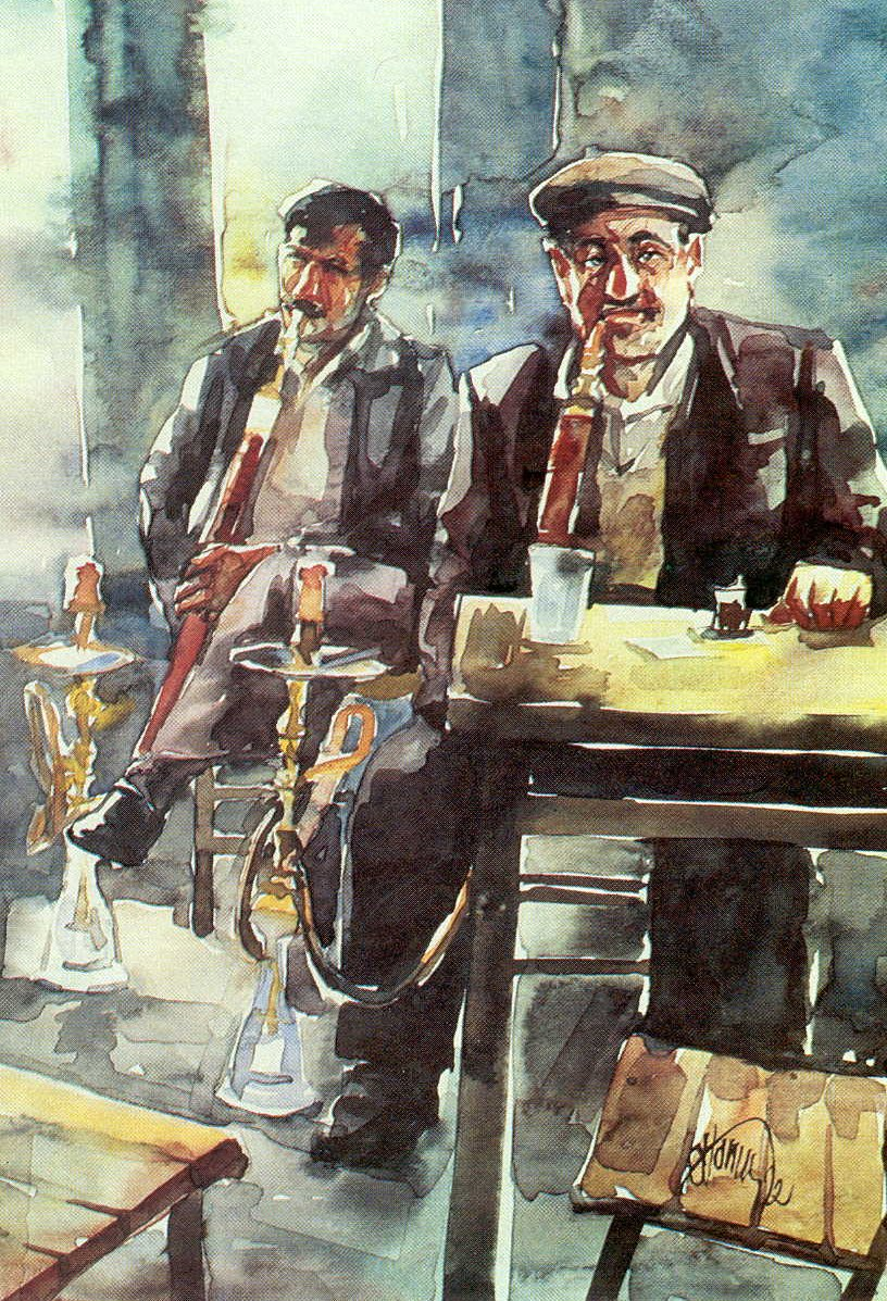 Men smoking waterpipe