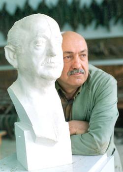 Prof. Y.SAMI GOKGOZ and his Bust.  60x25x23 cm 1987
