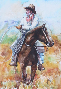 Cowboy on Horse Back