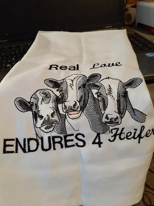 Dish Towel Real Love Endures 4 Heifer
