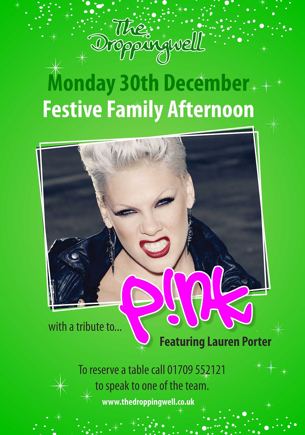 Droppingwell Festive family Pink poster.