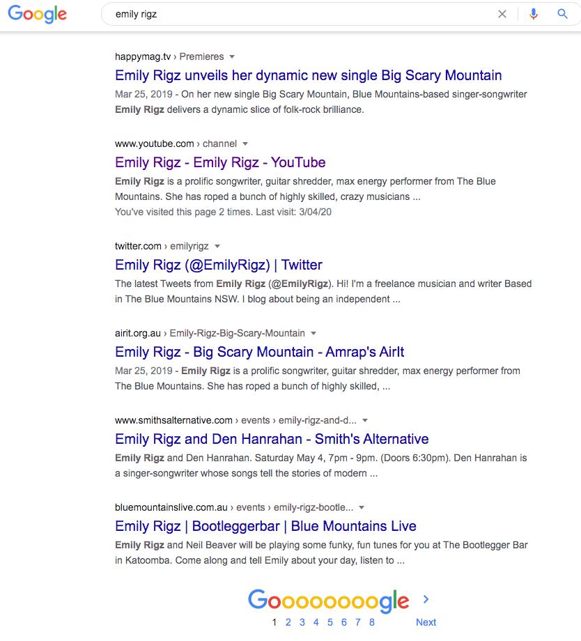 screen shot of Google SERP