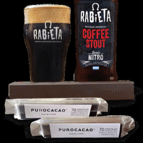 BOX PUROCACAO & RABIETA | Barrita de chocolate & Cerveza Cofee Stout