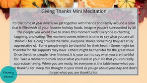 Giving Thanks: Meditation