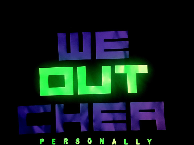 "Purple & Neon Green ""We Out Chea"" Tee"