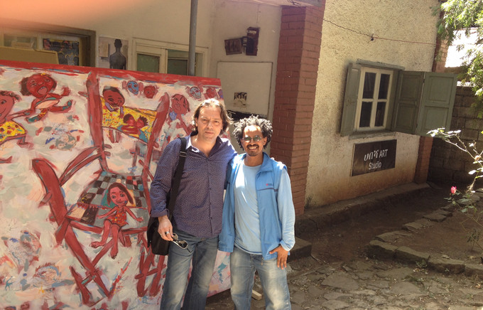 WBK and me outside Habesha Art Studio