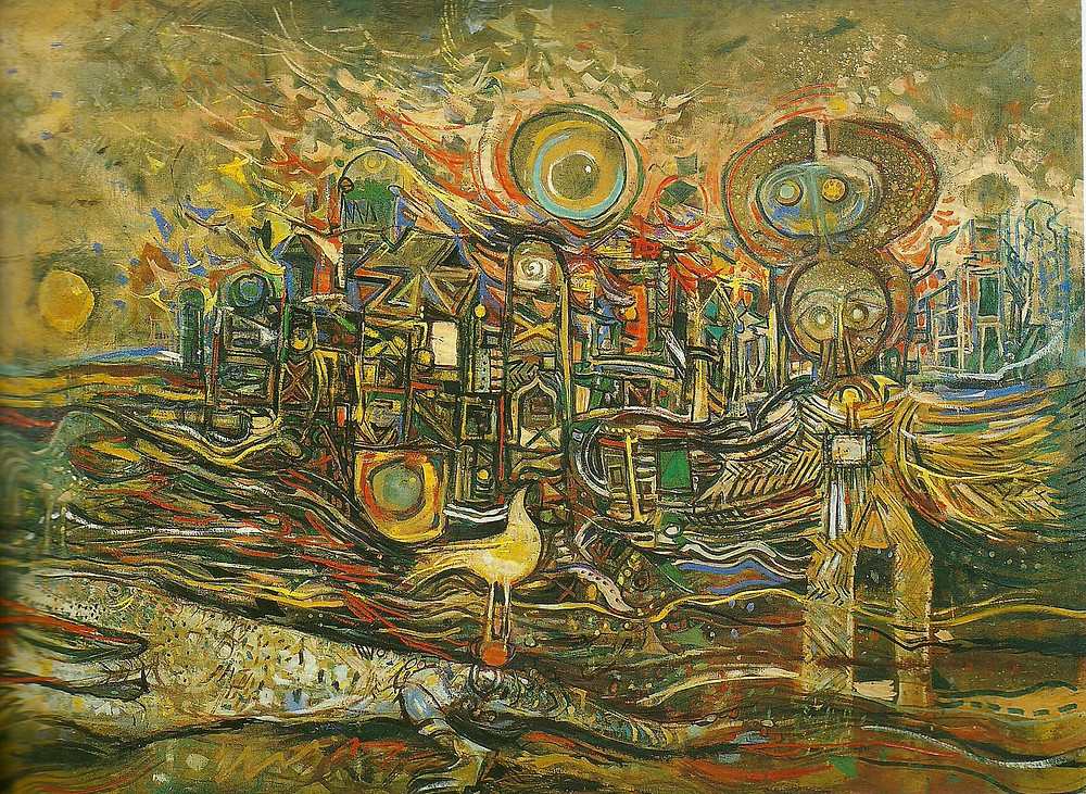 Skunder Boghossian, The end of the beginning, Oil on canvas ,122,5X170, 1972-73