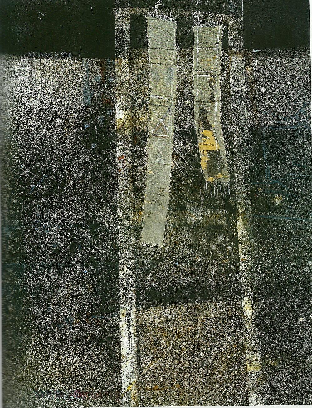 Skunder Boghossian, Jacob's Ladder, Mixed media on paper, 66X59, 1984