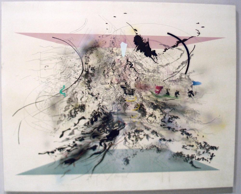 Oeuvre de Julie Mehretu présentée à Africa Remix, centre Pompidou, Paris 2005