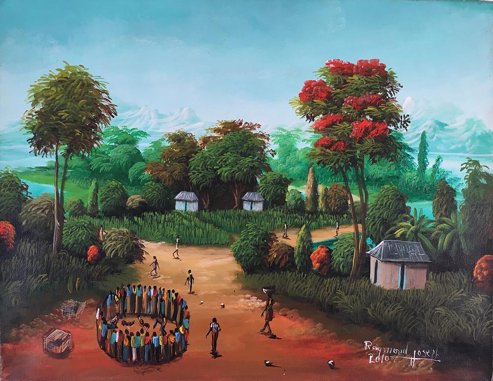 Raymond Joseph, Le combat de coq (Huile sur toile, 2010)