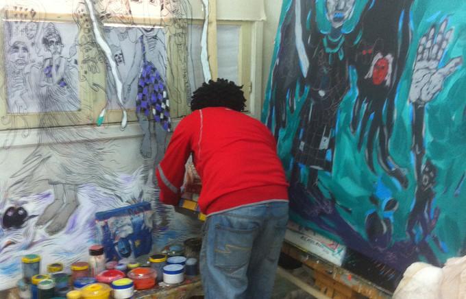 Workneh Bezu dans son atelier (2)