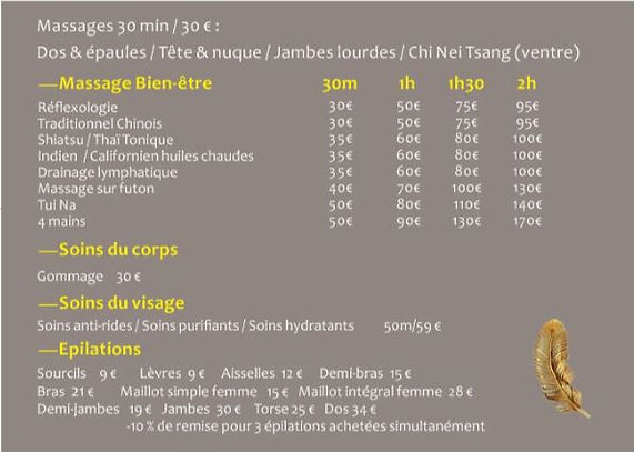 Tarifs Masage Vieux Lyon
