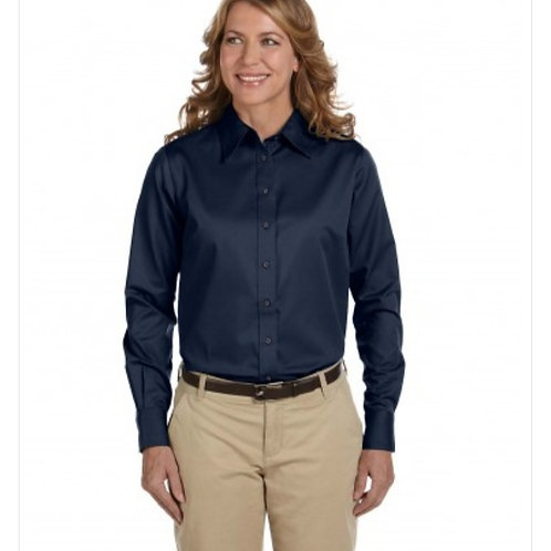 MD Anderson Ladies Long-Sleeve Twill Shirt With Stain Release with Logo