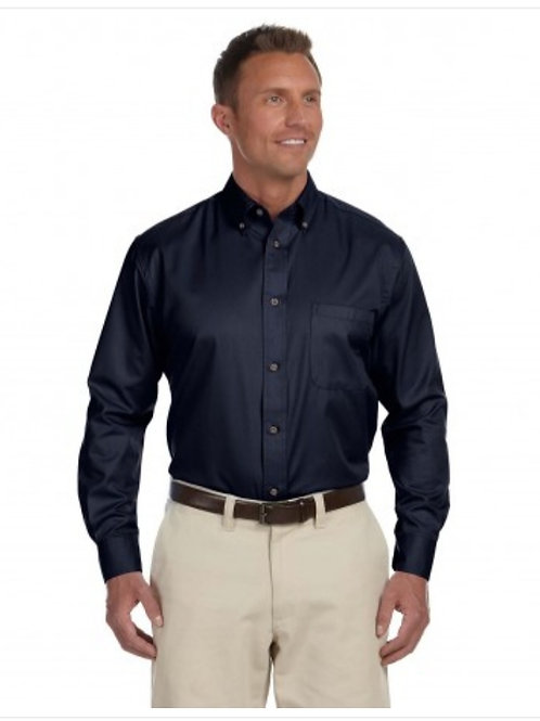 MD Anderson Men's Long-Sleeve Twill Shirt With Stain Release with Logo