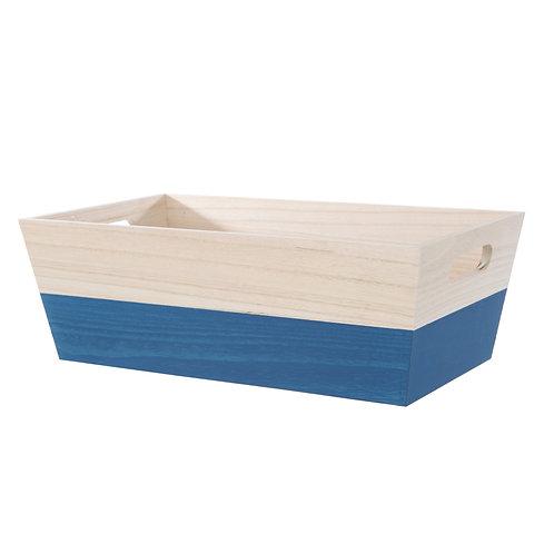 Wooden Blue Dipped Bin