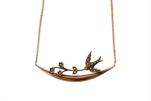Victorian swallow and sprig necklace
