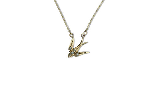 Small swallow necklace - 5 pearls