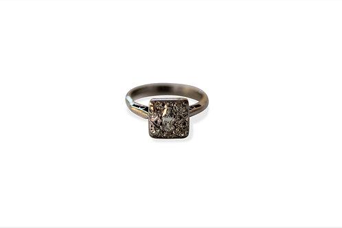 Vintage white gold diamond plaque ring