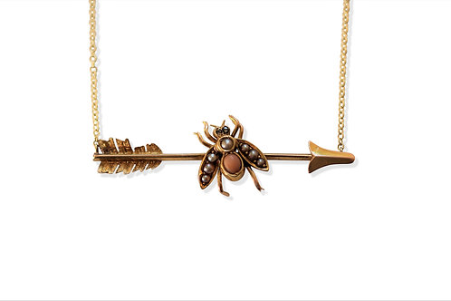 Victorian bee and arrow necklace