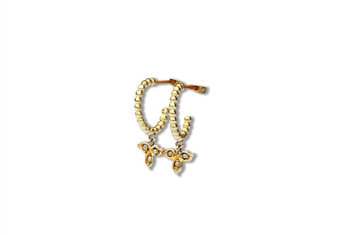 9ct yellow gold bead hoops with ivy leaf drops