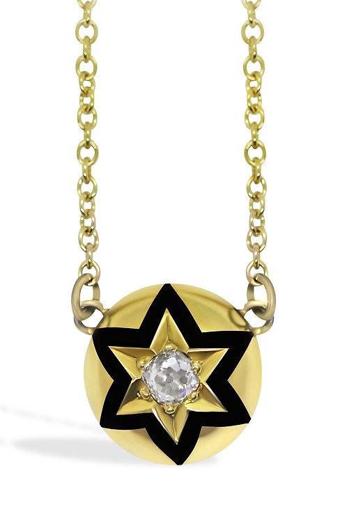 Old cut Diamond & black enamel pendant in 9ct Yellow Gold