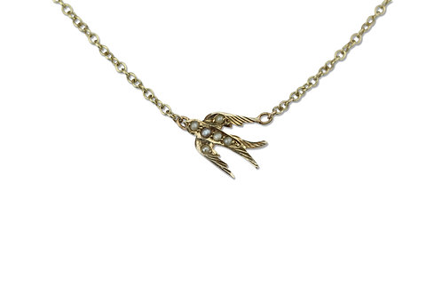 Extra small swallow necklace