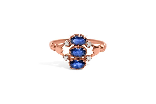Sapphire and diamond 7 stone ring in 9ct rose gold
