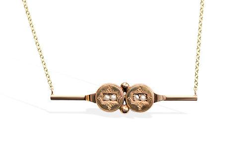 Victorian split pearl geometric motif on 9ct chain
