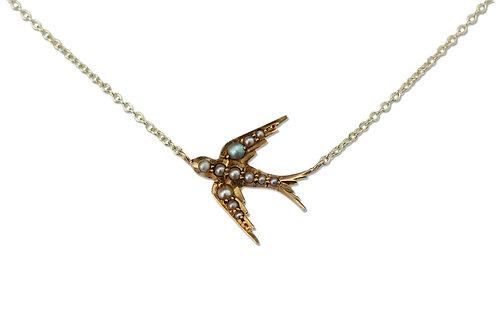 Medium swallow necklace - facing left