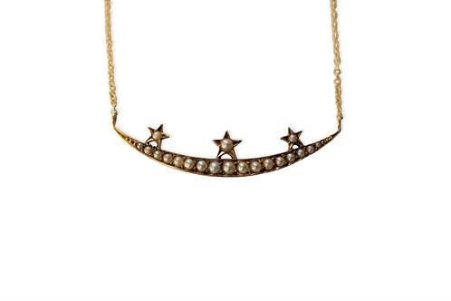 Victorian crescent moon and stars necklace