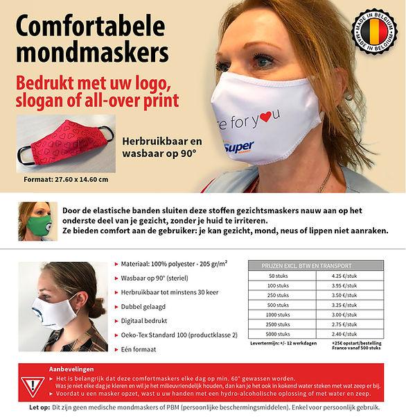 Gepersonaliseerde herbruikbare mondmaskers