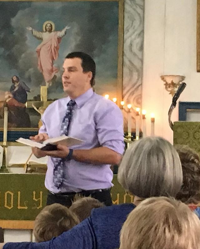 Mr. Kueck giving the chapel message at St. Paul