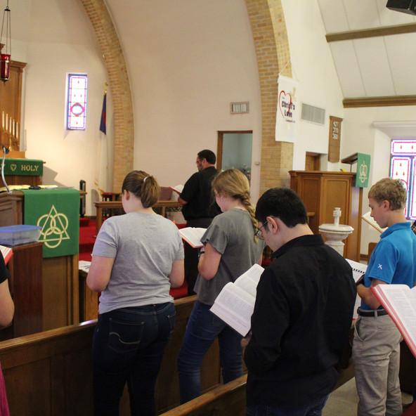 Pastor Schmidt giving chapel
