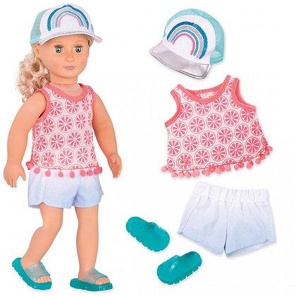 סט בגדי קיץ עם כובע וכפכפים לבובה