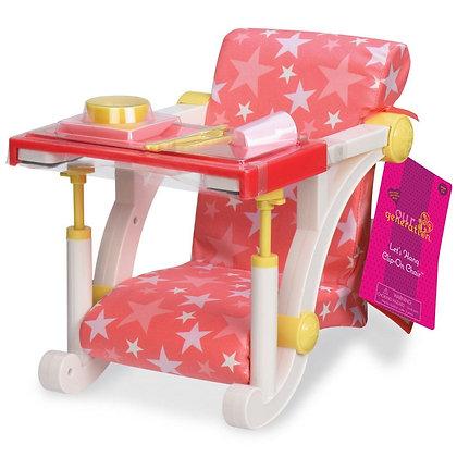 כיסא לבובה מתחבר לשולחן ורוד עם כוכבים