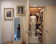 Self-portrait with Grandma's Wedding Dress, Grandma and Poppop's Wedding Portrait