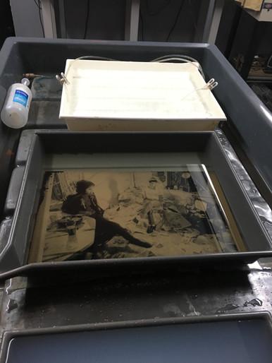 Large tintype in water bath