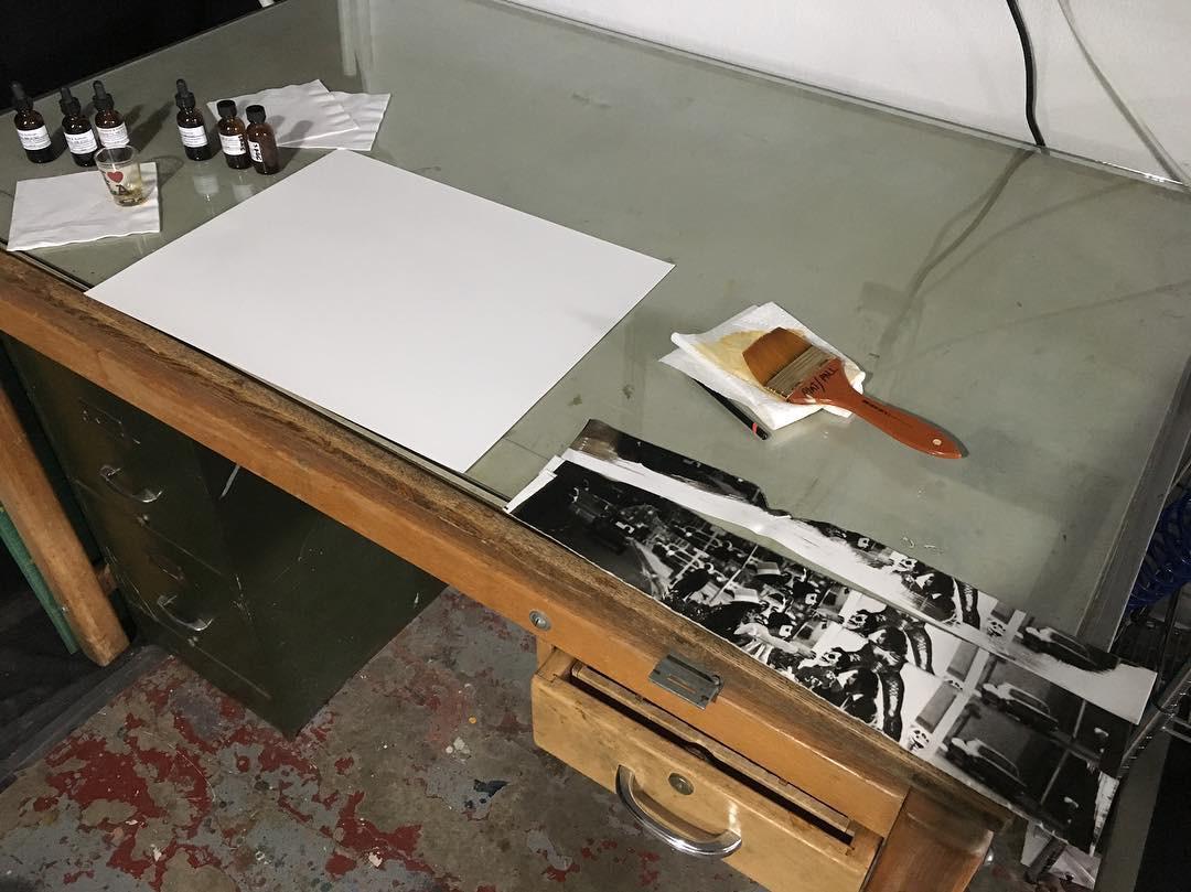 Platinum Palladium coating area on a glass table