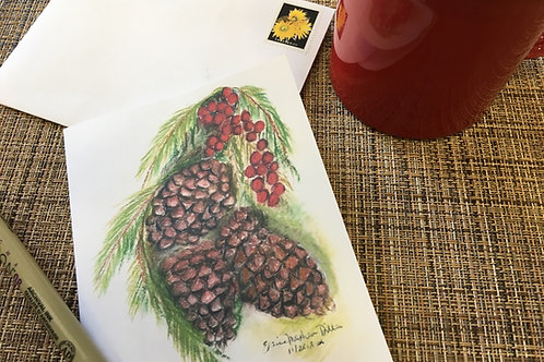 Note card: Pine cone & evergreens