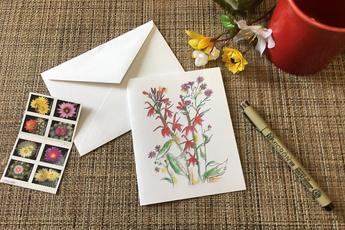 Note Card: Cardinal Lobelia