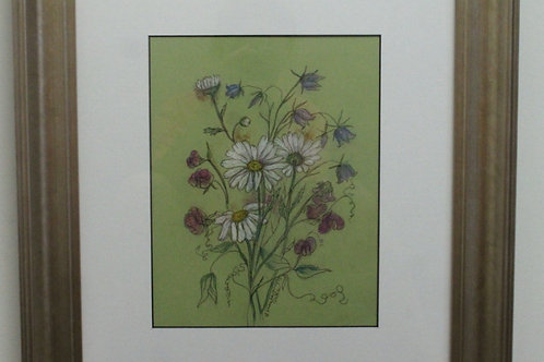 Framed original of daisies, sweet peas & hare bells