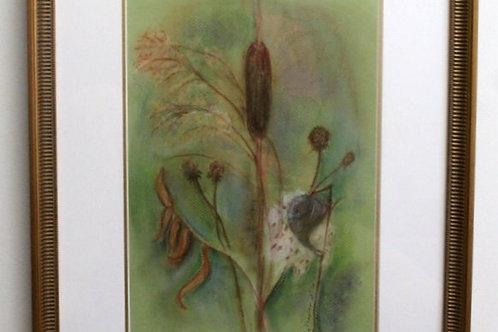 Framed original artwork of cattail and milkweed