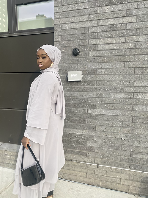 Grey Abaya + Hijab Set