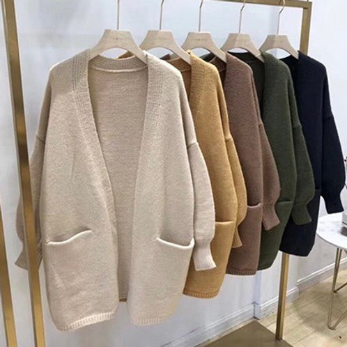 Olive Green Oversized Knit Fall Cardigan