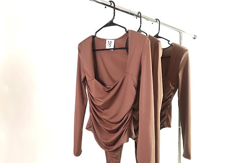 Solid Brown Ruched Body Leotard