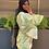 Thumbnail: Green Ruched Satin Dress