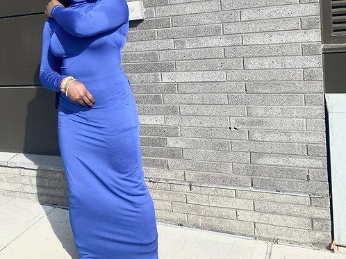 Navy blue Turtleneck BodyXon Dress