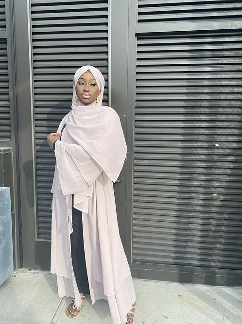 Beige Abaya + Hijab Set