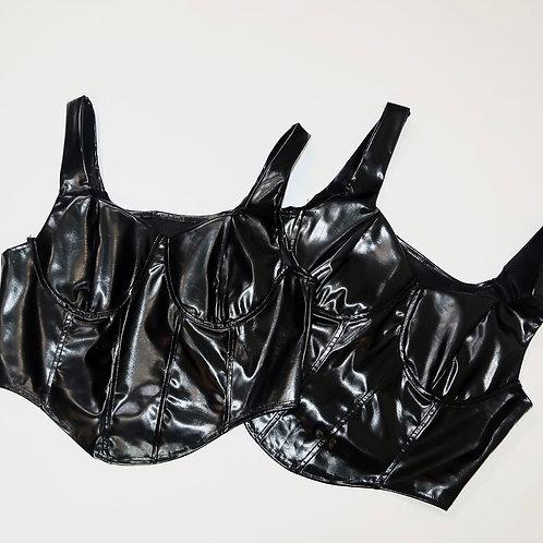 Black Leather Biker Corset