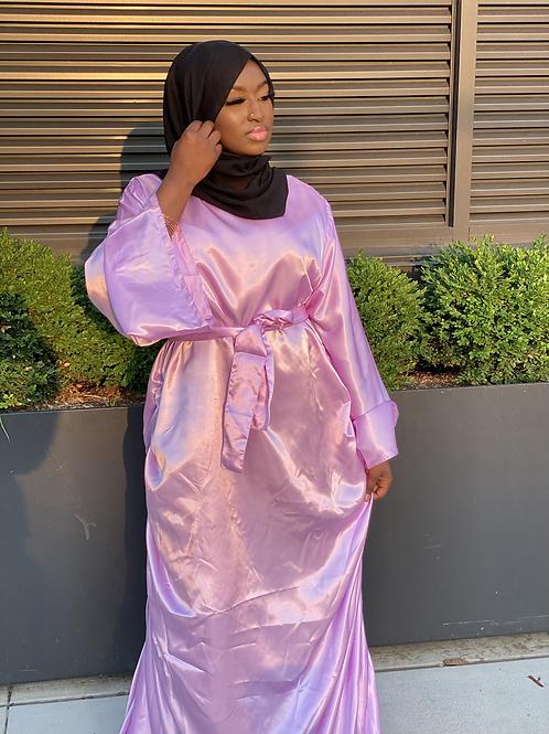 Lavender Ruched Satin Dress